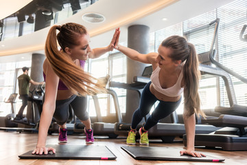 Two beautiful women giving high five while practicing basic plank exercise during workout
