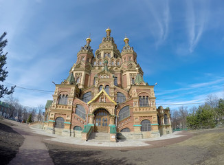 Russia, suburb of Saint Petersburg, the St. Peter and Paul Cathedral.  .lens fish eye.