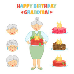 Happy Birthday Grandma. Cute vector illustration with grandmother and cake. Congratulation. Greeting card in different variations. Invitation.