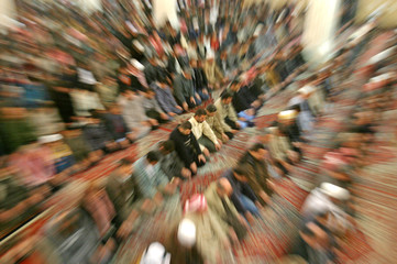 Iraqi Muslims perform Friday prayers in Baghdad.