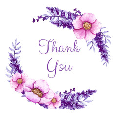 Thank You Card with Watercolor Pink Flowers