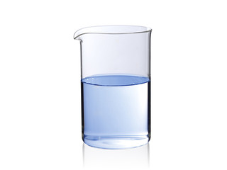 Glass vessel filled with water on a white background with reflection