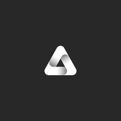 Triangle logo abstract ribbon gradient black and white style with shadows icon, delta geometric shape emblem mockup