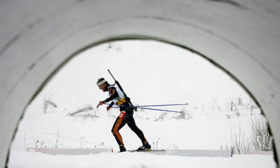 Sven Fischer of Germany is seen on a track during the men's 10 km sprint race at the World Cup Biathlon in Osrblie