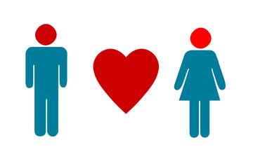 Mann, Herz und Frau - rot und türkisblau Farben, weißer Hintergrund