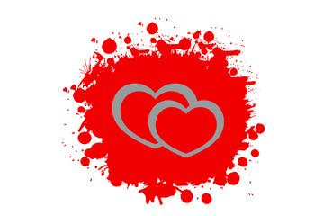 Silber Herzen auf getupftem Rot mit weißem Hintergrund