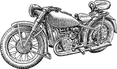 sketch of an old motorbike