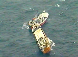 A video still picture released by Polish Coast Guard shows Norwegian container ship Ocean Caroline in the Baltic Sea
