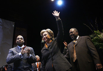 US Democratic presidential candidate Senator Hillary Clinton attends union rally in New York