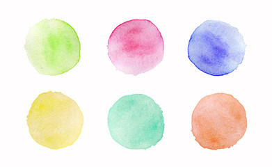 Set of hand painted watercolor round stains on white background