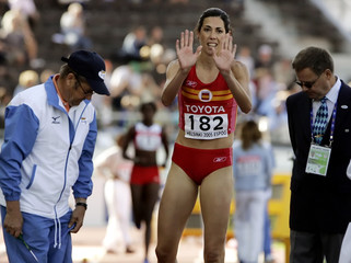 Castrejana of Spain gestures during women's triple jump qualifying at the world athletics ...