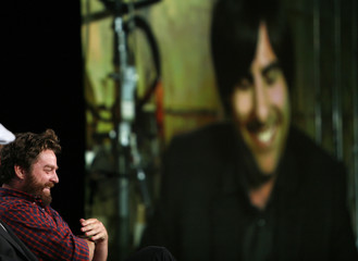 "Zach Galifianakis laughs during a panel discussion for ""Bored to Death"" at Television Critics Association Cable summer press tour in Pasadena"