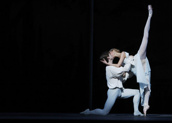 Dancers Vladimir Shklyarov and Alina Somova perform as Romeo and Juliet during rehearsal for the Mariinsky (formerly the Kirov) Ballet performance in London