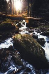 Wasserfall im Ilsetal, die Ilsefälle im Harz mit Sonne