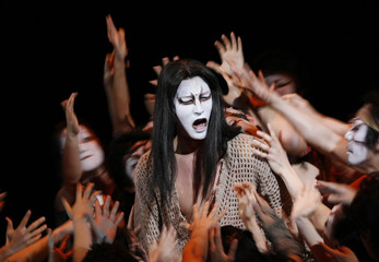 """The actor in the role of Jesus Christ performs at the final dress rehearsal of """"Jesus Christ Superstar"""" in Tokyo"""