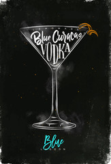 Blue lagoon cocktail chalk color