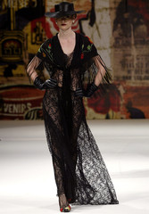 Model wears creation from Victor Dzenk's 2006 autumn/winter collection during Fashion Rio Show in Rio de Janeiro