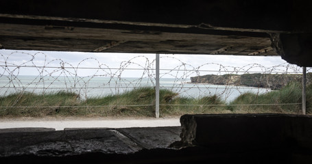 View out of the bunker at Pointe du Hoc Normandy