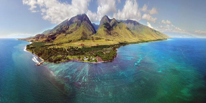 Island of Maui - Aerial Panorama - Hawaii
