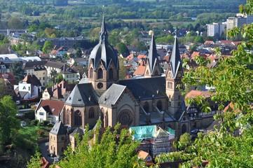 Historische Altstadt mit Dom von Heppenheim an der Bergstraße, Hessen, Deutschland