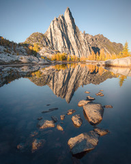 Mountain peak reflected in water, The Enchantments, Washington, USA