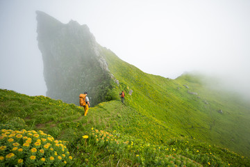 Two people hiking by hazy green mountain side, Iceland, Europe