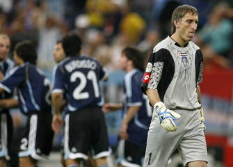 Serbia and Montenegro's goalkeeper Jevric reacts after he let in Argentina's third goal during their Group C World Cup 2006 soccer match in Gelsenkirchen