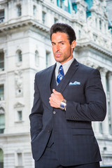 Portrait of Handsome American Middle Age Businessman in New York