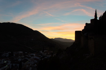 Idyllic view of sunset in the mountains on a day in March, captured in Moclín, Andalusia, Spain
