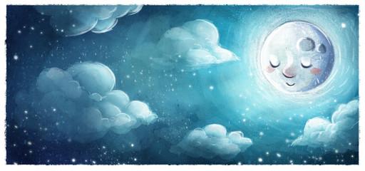 luna en el cielo de noche