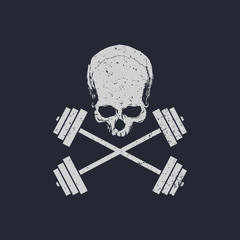 Fitness logo skull and cross weights vector illustration