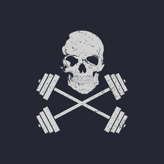 Skull and cross weights fitness logo vector illustration