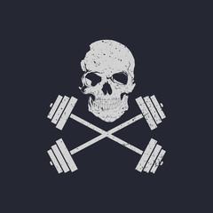 Skull and cross weights fitness logo vector illustration