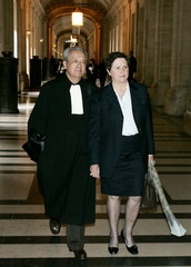 French lawyer Jacques Verges (L) and Louise-Yvonne Casetta (R), former treasurer of the RPR party, a..