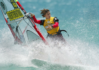 SPAIN'S RUANO COMPETES IN WOMEN'S FREESTYLE COMPETITION AT THE WORLD WINDSURFING CHAMPIONSHIPS IN ...