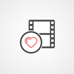 trendy flat love movie addict icon