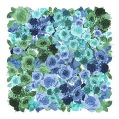 Türkis blaues Rosenmuster