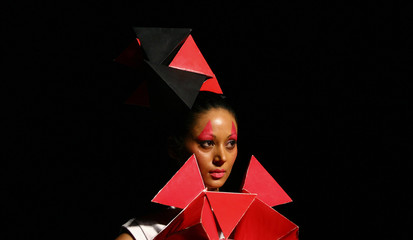 A model presents a creation at the New Zealand 'The World of Wearable Art' show in New Delhi