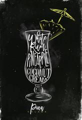 Pina colada cocktail chalk color
