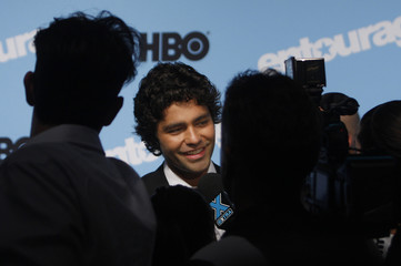 """Actor Adrian Grenier speaks to reporters as he attends the premiere of the fifth season of """"Entourage"""" presented by HBO at the Ziegfeld Theater in New York"""