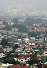 A general view of part of Kuala Lumpur shrouded by haze