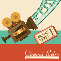 retro video camera short film, vector illustration