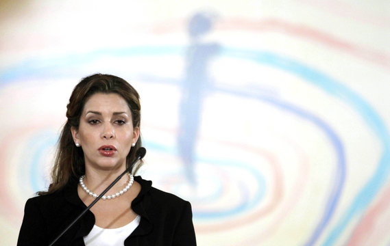 Princess Haya Bint Al-Hussein, wife of the ruler of Dubai Sheikh Mohammed Bin Rashid Al Maktoum, speaks at a UN Conference in Manama