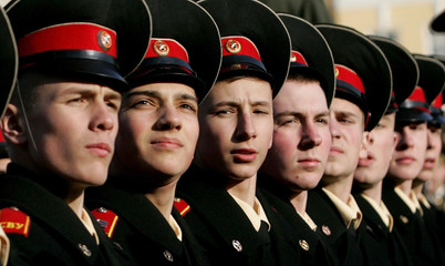 Russian cadets march during the rehearsal on the Dvortsovaya Square in St.Petersburg.