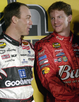 Harvick and Earnhardt Jr. chat after top ten NASCAR drivers celebrated the end of their season with a lap through Times Square in New York
