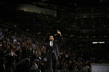 Democratic presidential candidate Barack Obama takes part in a rally at Target Center in Minneapolis