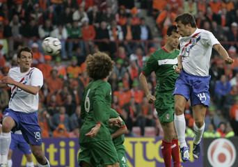 Heitinga of Netherlands scores past Mexico's Borgetti during match in Eindhoven