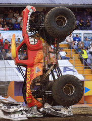 Lupe Soza lands his truck El Toro Loco on top of wrecked cars at Monster Jam, a monster truck competition in San Jose