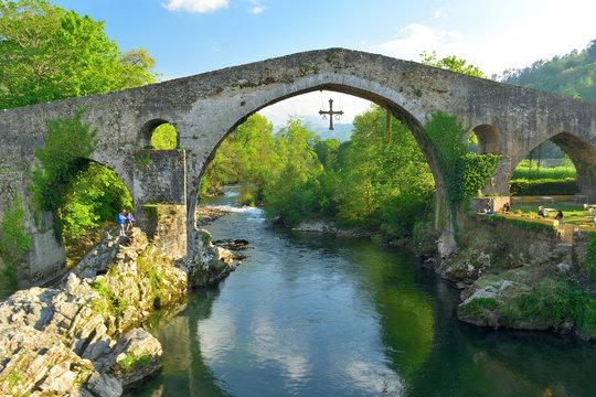 Roman bridge in Cangas de Onis, Spain. Asturias