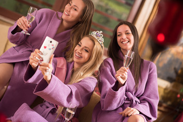 girls doing Selfy on  bachelorette party